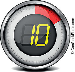 timer digital 10 - illustration of a metal framed timer with...