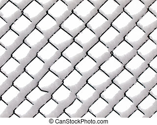 Fence - Chain link wire fence in snow