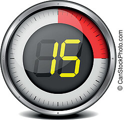 timer digital 15 - illustration of a metal framed timer with...