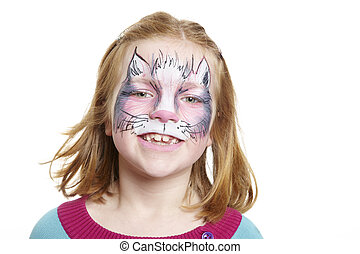 Young girl with face painting cat smiling on white...