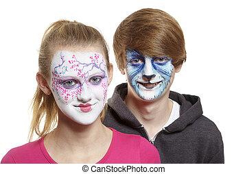 niño, adolescente,  geisha, cara, lobo, niña, Pintura