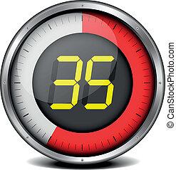 timer digital 35 - illustration of a metal framed timer with...