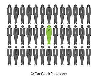 Vector man standing out from a crowd - Vector man standing...