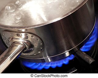 Boiling water - Water boiling in the metal bowl with handle...