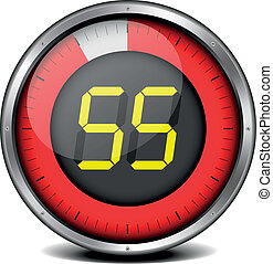 timer digital 55 - illustration of a metal framed timer with...