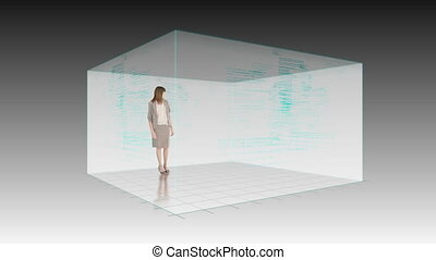 Animation of business woman presenting graphs in futuristic...