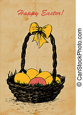 Hand -drawn Easter card