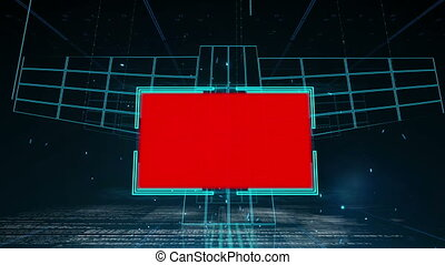 Animation with red screens on futuristic grid background