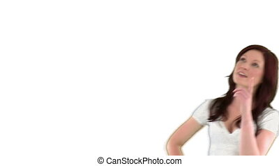 Woman with chroma key thought bubble on white background