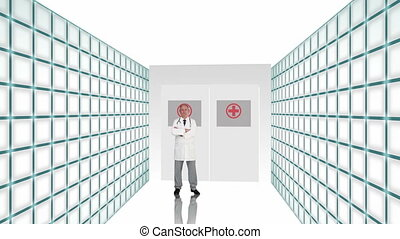 Animation with a doctor welcoming you through hospital doors...