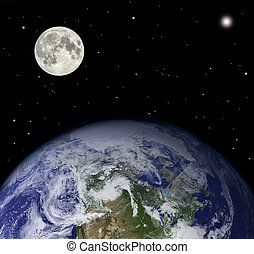 Planet earth and moon - Elements of this image furnished by...