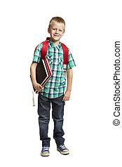 8 year old school boy with backpack on white background - 8...