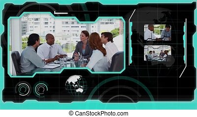 Interface showing successful business situations in black...