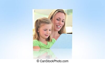 Mother and daughters using technolo