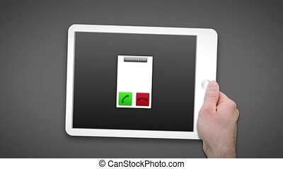 Hand using tablet pc to video chat on dark grey background