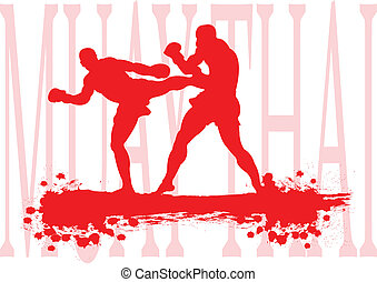 Thai boxing. - Thai boxing, Muay Thai in red silhouette.