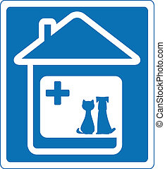 veterinary symbol with pet and home - blue veterinary symbol...