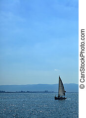 Sailing in Haifa Bay - View to the south at the silhouette...