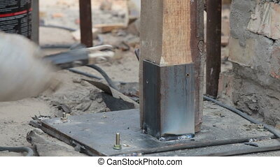 Roofing work - welding piles - Roofer welding piles on a...
