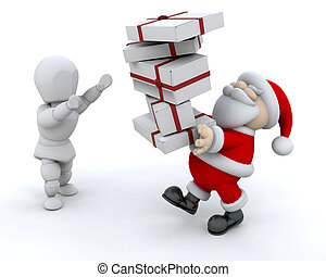 Santa giving gifts - Santa Claus giving a stack of gifts