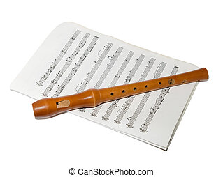 Recorder on a sheet music - A soprano recorder on a sheet...