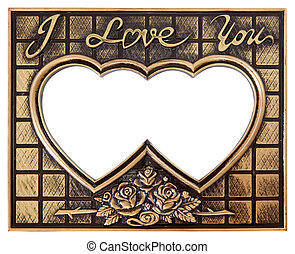 love gold frame antique love gold frame isolated on white