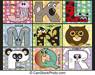 animal alphabet - illustration of animal alphabet - stock 2