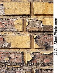 Old damaged brick wall
