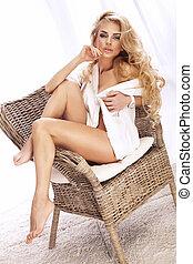 美麗, 坐, 相片, 椅子, 白膚金髮, 夫人, 矯柔造作