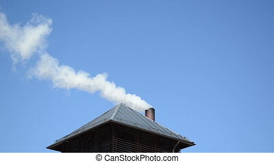 smoke blue sky chimney