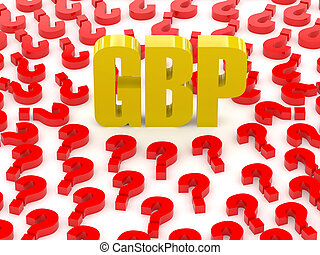 GBP sign surrounded by question marks Concept 3D...
