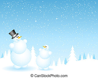 Father and son snowmen - Happy father and son snowmen on...