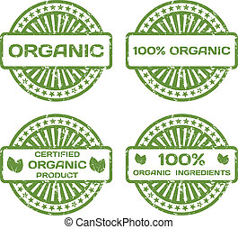 Grunge Rubber Stamp Set. Organic Product, Certified. Vector Illustration