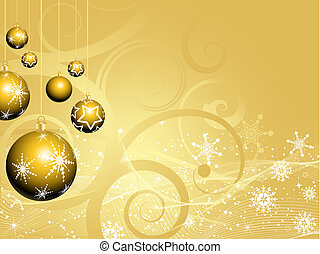 Golden christmas baubles - Golden Christmas bauble...