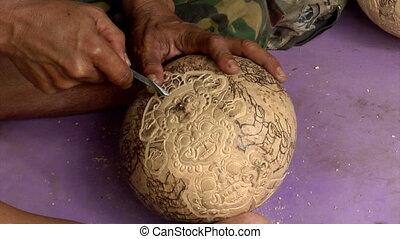 carve coconut hindu symbol 10050