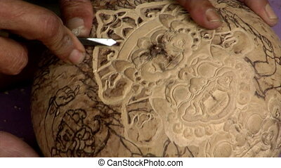 Carve coconut hindu symbol close - Carve coconut hindu...