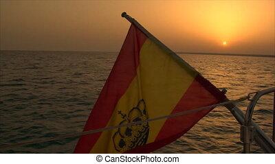 spanish flag at sundown 10054