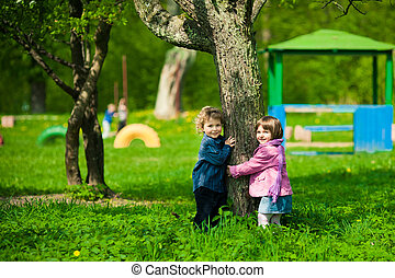 boy and girl on a playground