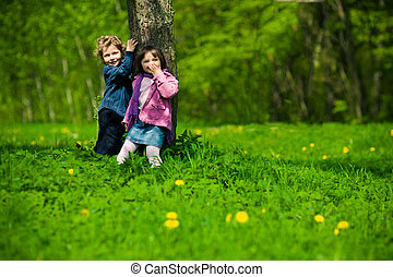 boy and girl in park