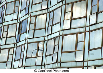 Building Windows - Close up a hotel wall made entirely out...
