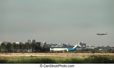 plane lands at the airport