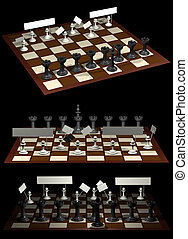 Chess allegory opposition citizens and government (3 views)