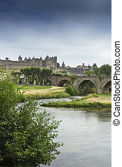 Aude - The beautiful fortified town of Carcassonne and Pont...