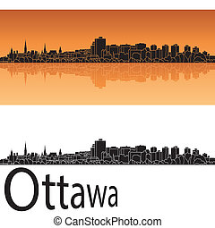 Ottawa skyline in orange background in editable vector file