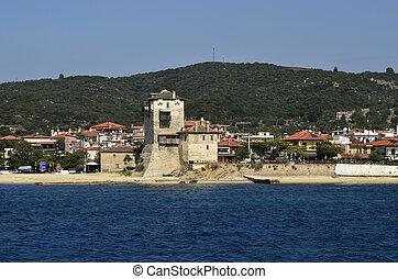 Greece, Athos Peninsula,Ouranoupoli, Prosphorios-tower