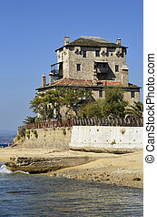 Greece, Athos peninsula, Ouranoupoli, Prosphorios-Tower