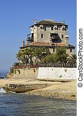 Greece, Athos peninsula, Ouranoupoli, Prosphorios-Tower