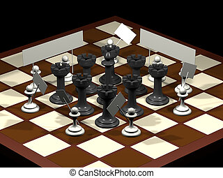 Chess allegory opposition citizens and government...