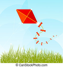 Summer background with grass, clouds and a red kite