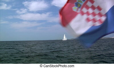 catamaran and croatia flag